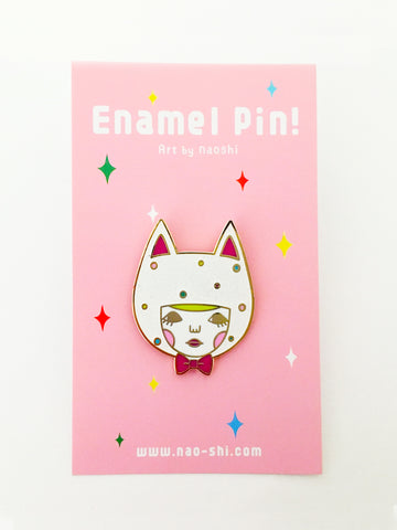 Enamel Pin -White Cat-