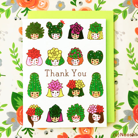 Greeting Card  -Succulent Plants / Thank you-