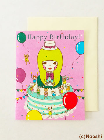 Greeting Card  -Happy Birthday / Band of cats-