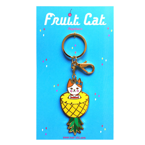 Fruit Cat Keychain -Pineapple-