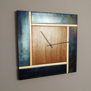 Pinwheel Blackened Steel and Mahogany Square Wall Clock