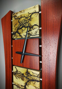 High Voltage Lichtenberg Wall Clock - Clear Pine, Padauk, and Stainless Steel