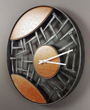 Abstract Modern Round Metal and Wood Wall Clock
