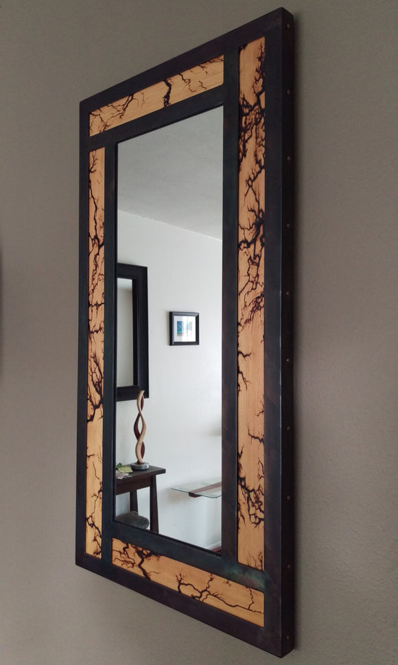 High Voltage Wood and Steel Lichtenberg Vanity Mirror