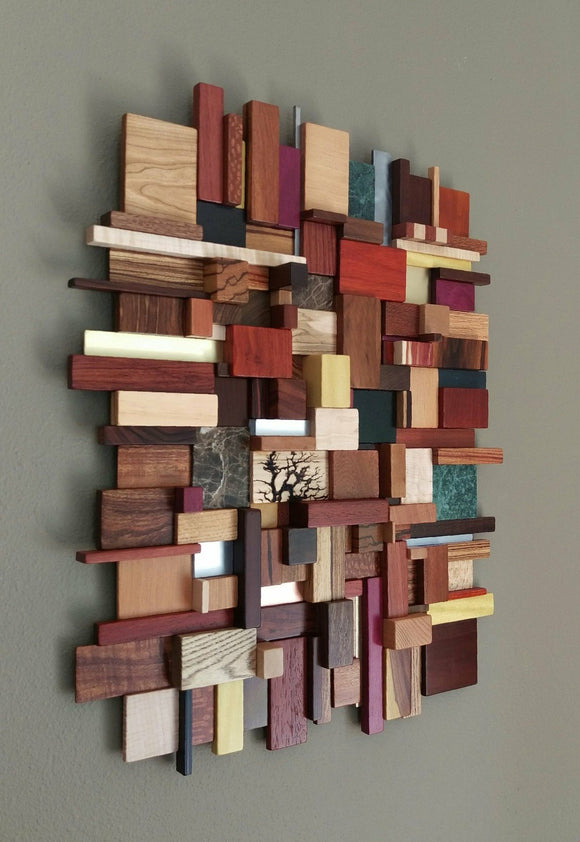3D wall hanging mosaic, multi colored woods, metals, and stone