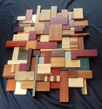 3D Wall Mosaic - Exotic Wood, Metal, and Stone