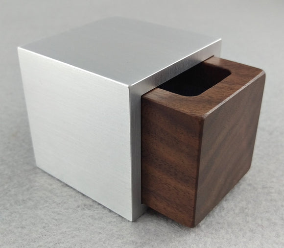 Modern Cube Engagement Proposal Ring Box - Black Walnut and Aluminum