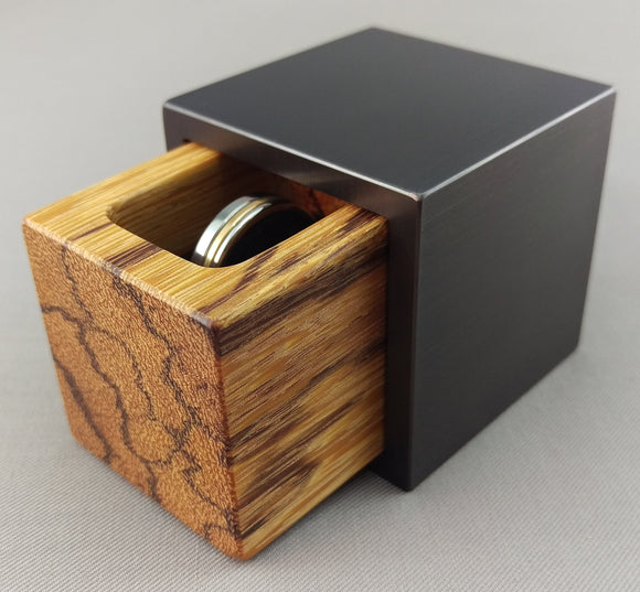 Modern Cube Engagement Proposal Ring Box- Gunmetal Aluminum and MarbleWood