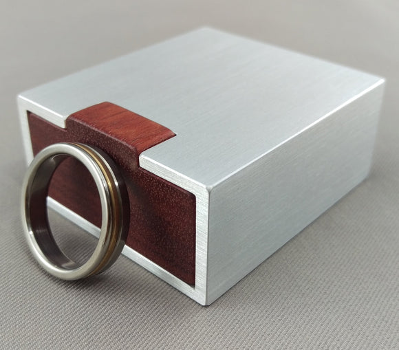 small silver aluminum engagement ring box, with red bloodwood insert