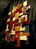 "3D Wall Mosaic - Exotic Wood, Metal, and Stone 24"" x 30"""