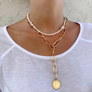 V NECKLACE WITH COIN - lublu.co