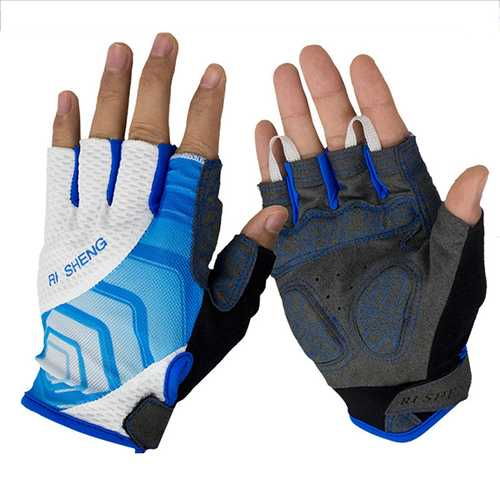 RI SHENG Shockproof Breathable MTB Half Finger Gloves Mountain Cycling Gloves Bicycle Motocross Gloves