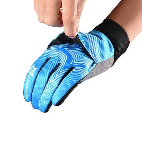 ROCKBROS Winter Waterproof Full Finger Touch Scree Cycling Gloves with Rain Cover Stripe Style Bicycle MTB Road Bike Sports Mittens