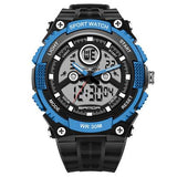 SANDA 709 Dual Display 30M Waterproof Outdoor Sport Military Fashion LED Digital Watch