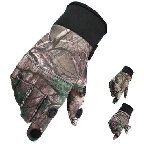 BIKIGHT Camouflage Touch Screen Non Slip Cycling Gloves Hunting Fishing Gloves Waterproof Windproof Gloves