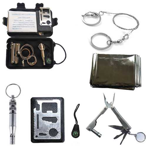 6 In 1 Self-Help Box SOS Equipment Outdoor Hiking Camping Sports Survival Emergency Tools Kit