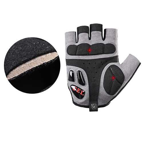 Wheelup S141 Men Anti-skidding Shockproof Breathable Half Finger Sports Riding Gloves Bike Gloves