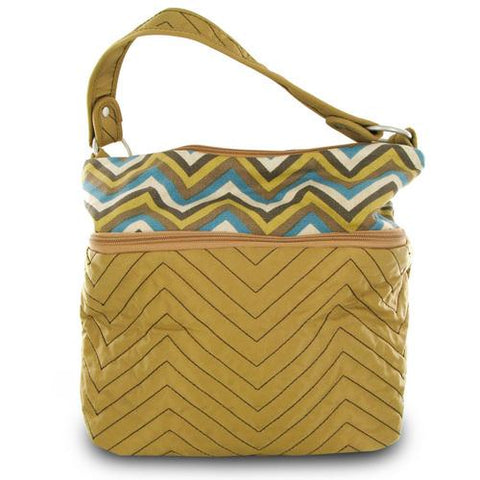 Travelon Quilted Nylon Zip-Top Train Case - Tan/Zig Zag Pattern