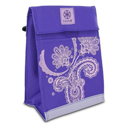 Gaiam Insulated Food Travel Lunch Bag Tote Leak-Resistant Purple Paisley