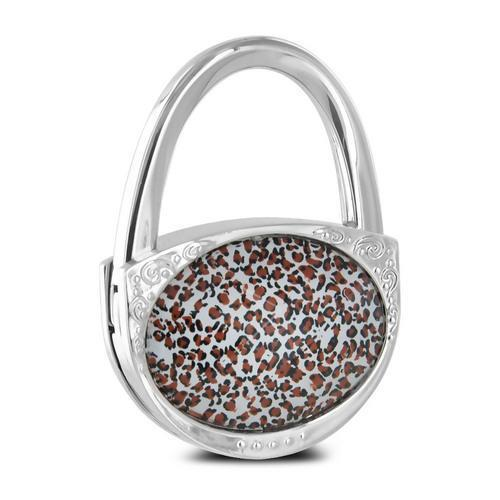 Pursfection Design Folding Handbag Purse Hook Hanger, Leopard