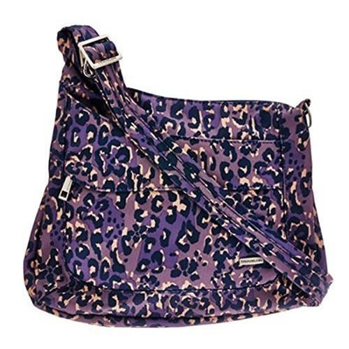 Travelon Anti-Theft Asymmetric RFID Crossbody, Purple Leopard