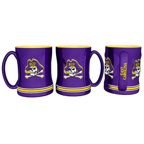 East Carolina Pirates Coffee Mug 14oz Sculpted Relief Special Order