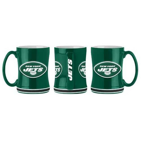 New York Jets Coffee Mug 14oz Sculpted Relief 2019