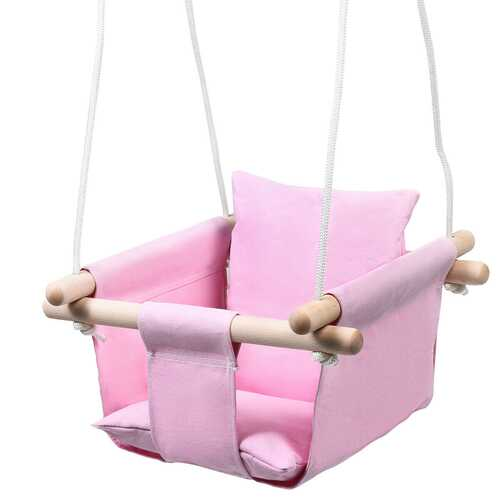 Indoor Outdoor Baby Canvas Hanging Swing-Pink