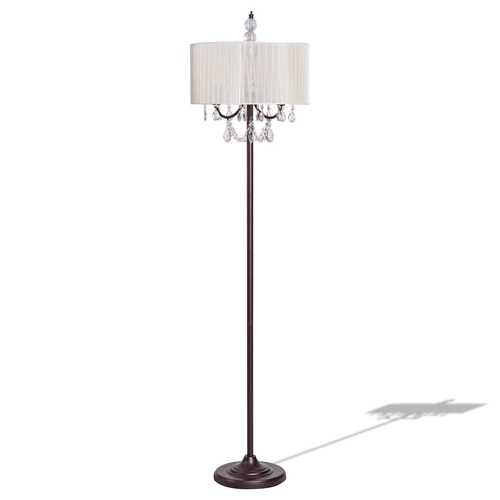 Elegant Sheer Shade Floor Lamp w/ Hanging Crystal LED Bulbs