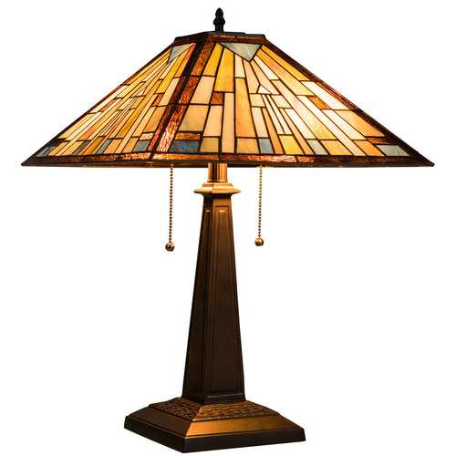 2-Light Table Lamp with Stained Glass Lampshade