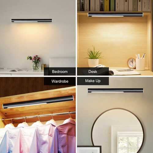 40 LED Closet Portable USB Rechargeable Wardrobe Lamp-Black