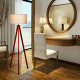 Modern Wood Tripod Floor Lamp with Foot Switch