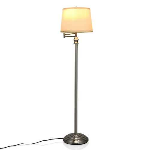 Swing Arm LED Floor Lamp with Hanging Fabric Shade