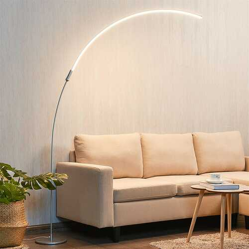 LED Arc Floor Lamp with 3 Brightness Levels-Silver