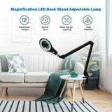 LED Magnifying Glass Desk Lamp w/ Swivel Arm-White