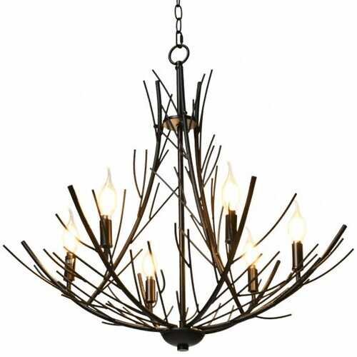 6-Light Vintage Branch Chandelier Copper Ceiling Lamp