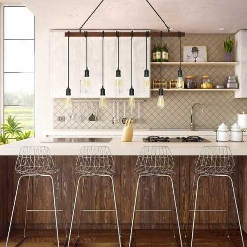 8-light Industrial Pendant Light Wood Hanging Chandelier Fixture