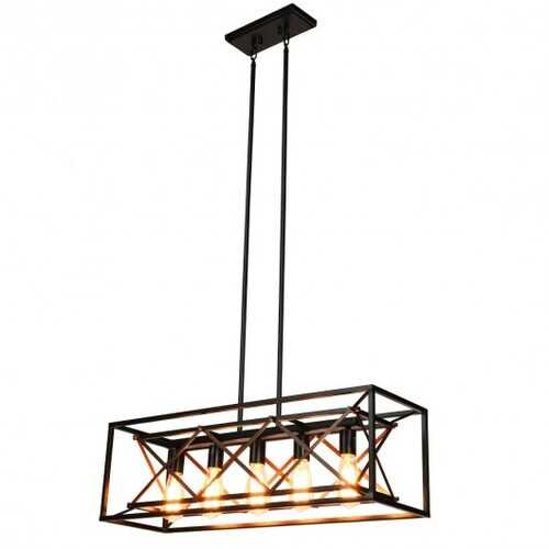 5-Light Kitchen Island Pendant Light Wood Metal Chandelier