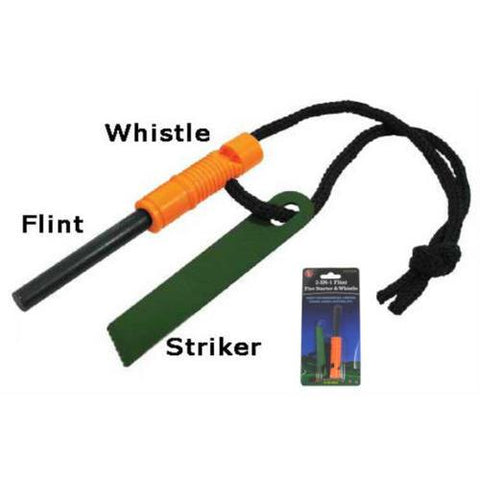 SALE 2 in 1 Flint Fire Starter and Whistle FS371WW