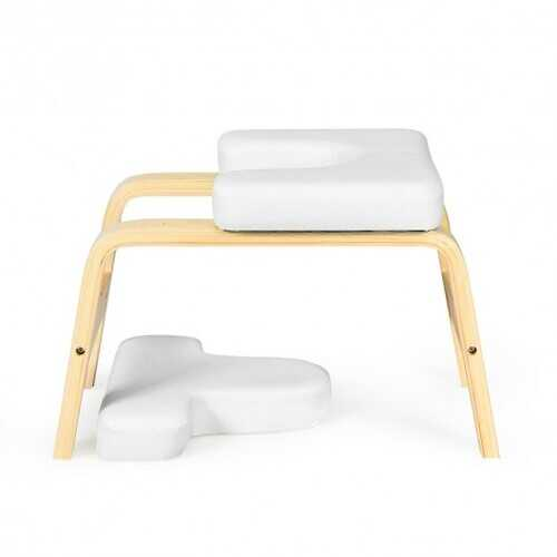 Yoga Headstand Wood Stool with PVC Pads-White