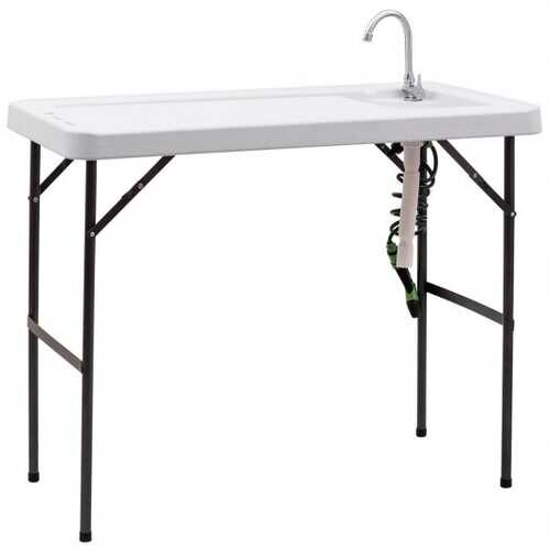 Folding Cleaning Sink Faucet Cutting Camping Table w/ Sprayer