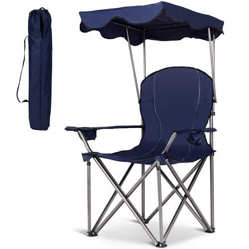Portable Folding Beach Canopy Chair with Cup Holders-Blue