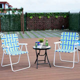 6 pcs Folding Beach Chair Camping Lawn Webbing Chair-Blue