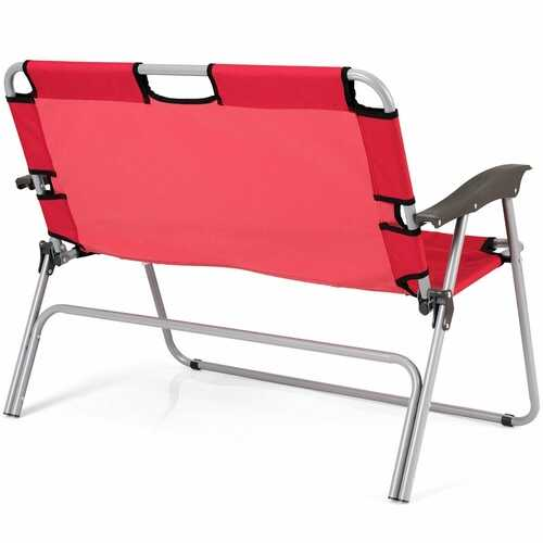 2 Person Folding Camping Bench Portable Double Chair-Red