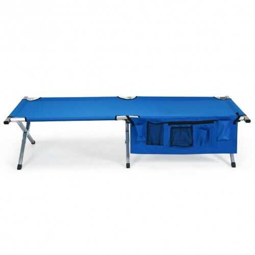 Folding Camping Cot Heavy-duty Camp Bed with Carry Bag-Blue