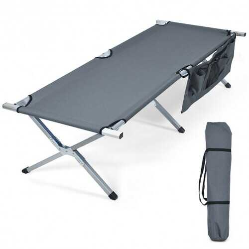 Folding Camping Cot Heavy-duty Camp Bed with Carry Bag-Gray