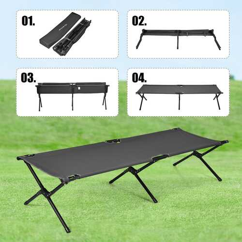 Adults Kids Folding Camping Cot-Gray