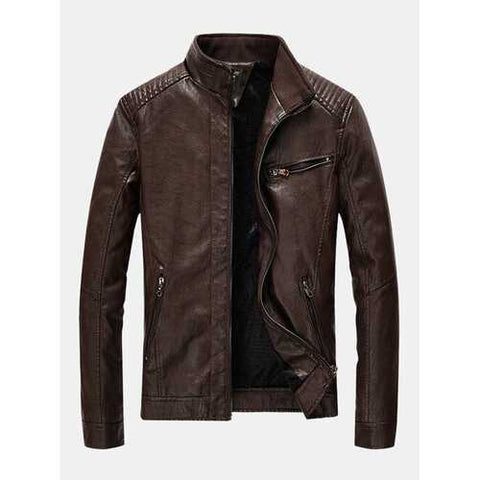 Leather Stand Collar Slim Fit Jackets
