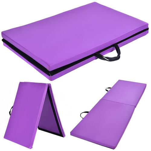 "6' x 24"" x 1.5'' Thick Two Folding Panel Gymnastics Mat-Purple"