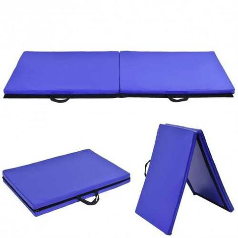 "6' x 24"" x 1.5'' Thick Two Folding Panel Gymnastics Mat-Blue"